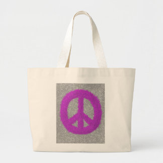 Fuchsia Splat Painted Peace Sign Tote Bag