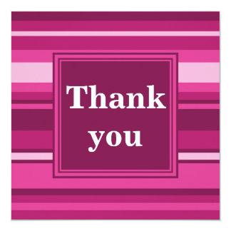 Fuchsia stripes thank you card