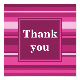 Fuchsia stripes thank you card 13 cm x 13 cm square invitation card