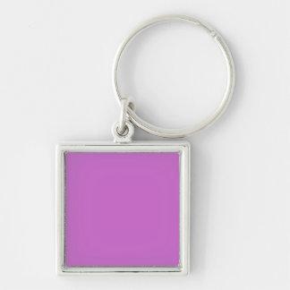 Fuchsia Template Silver-Colored Square Key Ring