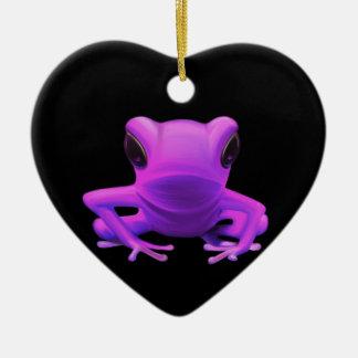 Fuchsia Tree Frog Ceramic Heart Decoration