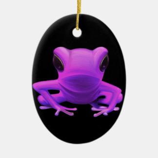 Fuchsia Tree Frog Ceramic Oval Decoration