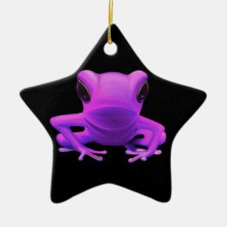 Fuchsia Tree Frog Ceramic Star Decoration