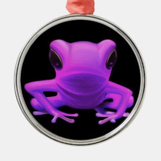 Fuchsia Tree Frog Silver-Colored Round Decoration