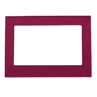 Fuchsia Triangles on Black Picture Frame Frame Magnet