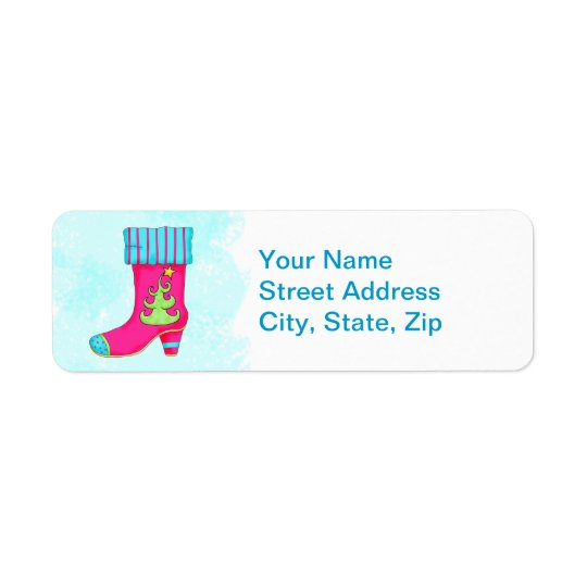 Fuchsia Turquoise Merry Christmas Boot Stocking