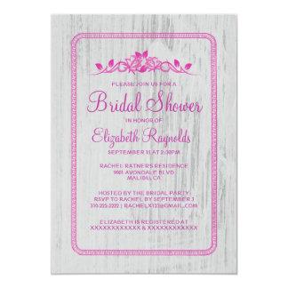 Fuchsia Vintage Barn Wood Bridal Shower Invitation Cards