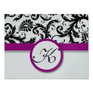 Fuchsia Vintage Damask Swirl Wedding RSVP 11 Cm X 14 Cm Invitation Card