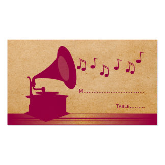 Fuchsia Vintage Gramophone Place Card Double-Sided Standard Business Cards (Pack Of 100)