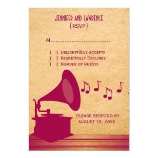 Fuchsia Vintage Gramophone Response Card Invitation