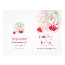 Fuchsia watercolor red pink Wedding Programme Flyers