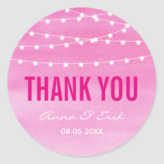 Fuchsia Watercolor String Lights Classic Round Sticker