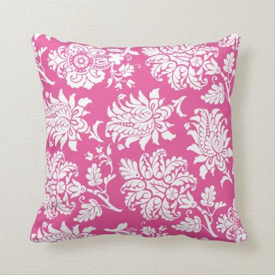 Fuchsia & White Damask Pillow