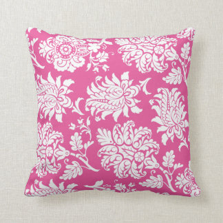 Fuchsia & White Damask Pillow