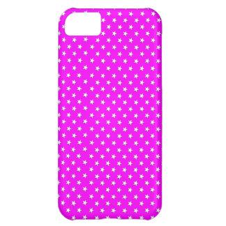 Fuchsia & White Star Polka Dots iPhone 5C Case