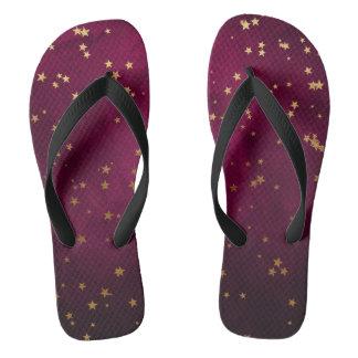 Fuchsia with Golden Stars Flip Flops
