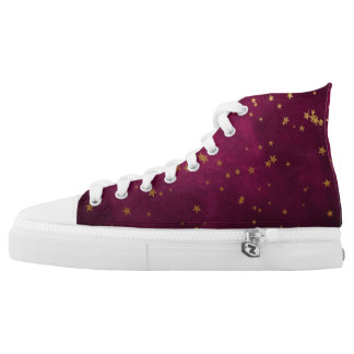 Fuchsia with Golden Stars High Tops