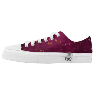 Fuchsia with Golden Stars Low Tops