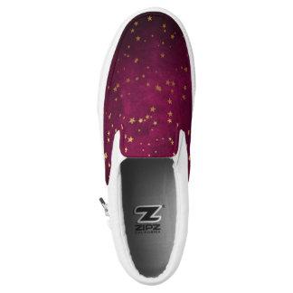 Fuchsia with Golden Stars Slip-On Shoes