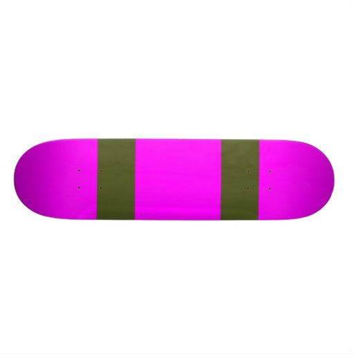 Fuchsia with Two Army Green Lines Skateboard