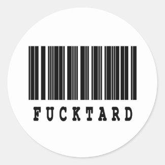 fucktard barcode design round sticker