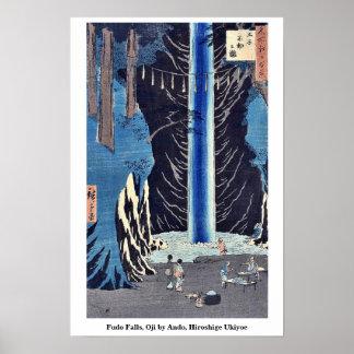Fudo Falls, Oji by Ando, Hiroshige Ukiyoe Poster