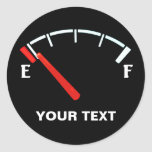 Fuel Gauge Gas Tank Full/Empty (personalised) Round Sticker