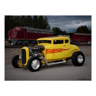 FuelFoto - 1931 Ford Hot Rod & Train Wall Poster