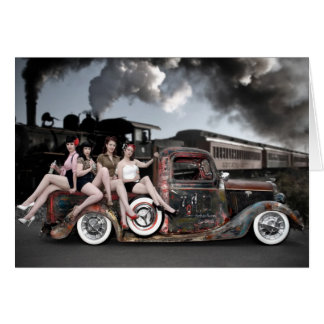FuelFoto - Choo Choo Hot Rod Pin Up Greeting Card