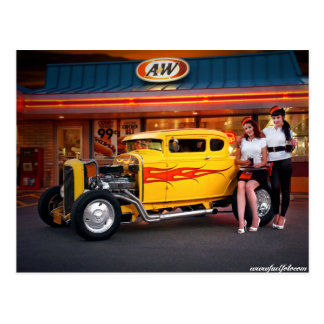 FuelFoto - Hot Rod & Car Hops at Drive In Postcard