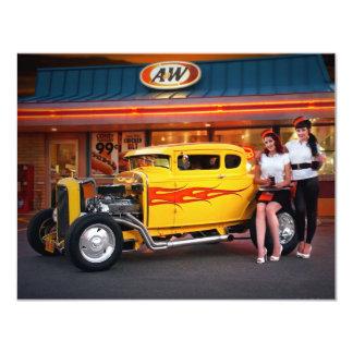 "FuelFoto - Hot Rod Car Hops @ Drive In Invitations 4.25"" X 5.5"" Invitation Card"