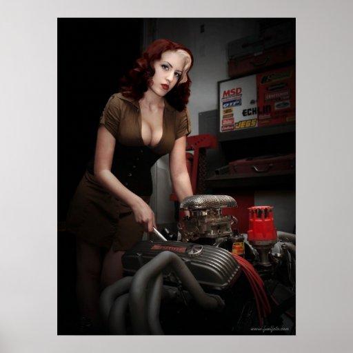 FuelFoto - Hot Rod Shop Pin Up Mechanic Poster