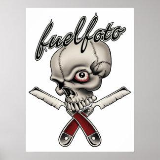 FuelFoto - Skull & Straight Razors Garage Poster