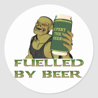 Fuelled by beer classic round sticker