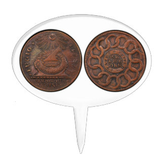 Fugio Cent Mind Your Business Front and Back Cake Picks