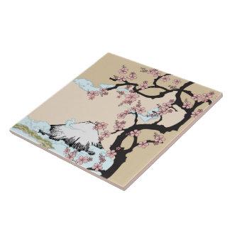 Fuji and Sakura: Ceramic Photo Tile