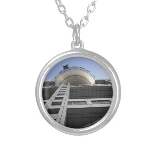 Fuji Building Japan Round Pendant Necklace