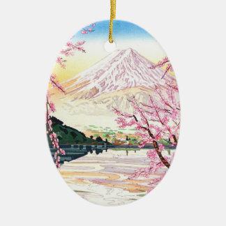 Fuji from Kawaguchi Okada Koichi shin hanga japan Double-Sided Oval Ceramic Christmas Ornament