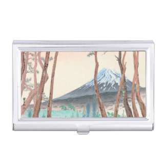 Fuji from the Pine Forest at Harajiku japanese art Business Card Holder