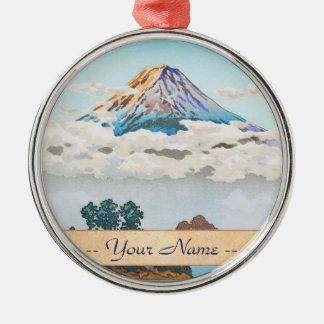 Fuji in clouds,  Koushu Lake Kawaguchi Japan Silver-Colored Round Decoration
