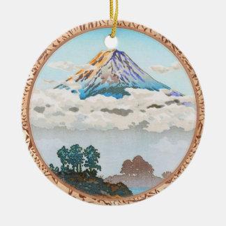 Fuji in clouds,  Koushu Lake Kawaguchi Japan Round Ceramic Decoration