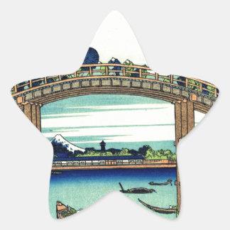 Fuji_seen_through_the_Mannen_bridge_at_Fukagawa.jp Star Sticker