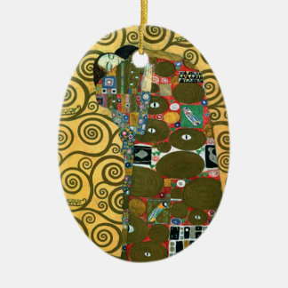 Fulfillment aka The Embrace by Gustav Klimt Ceramic Oval Decoration