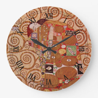 Fulfillment by Gustav Klimt, Vintage Art Nouveau Large Clock