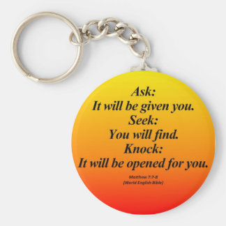 Fulfillment Matthew 7:7-8 Abbrev Basic Round Button Key Ring