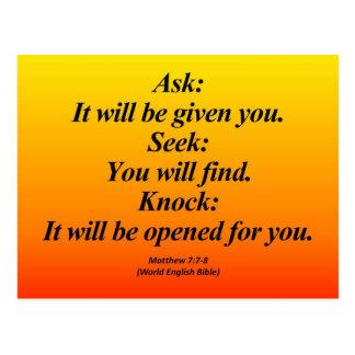 Fulfillment Matthew 7:7-8 Abbrev Postcard