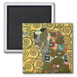 Fulfilment (The Embrace) by Gustav Klimt Square Magnet