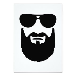 Full beard sunglasses 9 cm x 13 cm invitation card