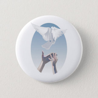 Full Color Dove and Hands Image 6 Cm Round Badge