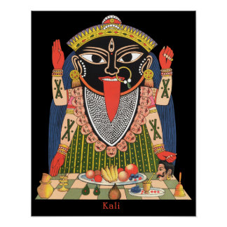 Full Color Poster of the Hindu Goddess Kali